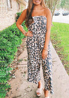 Leopard Drawstring Sleeveless Jumpsuit