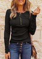 Lace Splicing Hollow Out Button Blouse - Black
