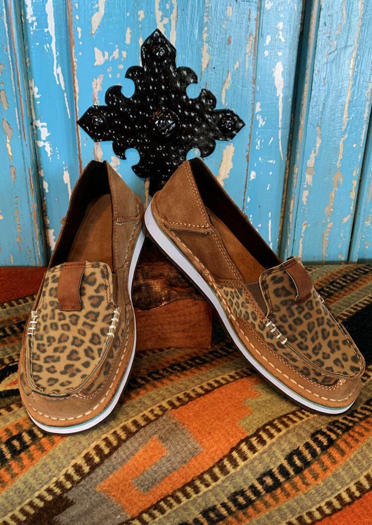 Leopard Splicing Flat Canvas Sneakers