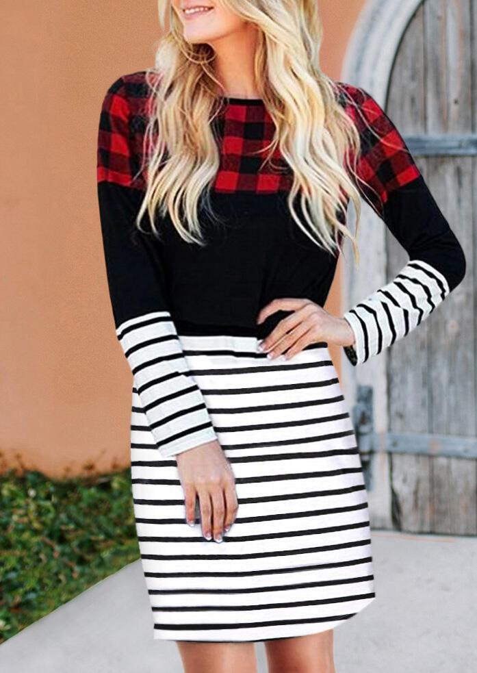 Fairyseason coupon: Buffalo Plaid Striped Color Block Splicing Mini Dress