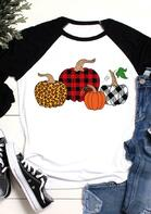Buffalo Plaid Leopard Pumpkin T-Shirt