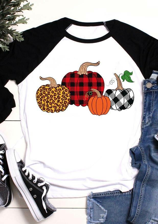 Buffalo Plaid Leopard Pumpkin T-Shirt Tee - White