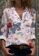 Floral Long Sleeve V-Neck Blouse