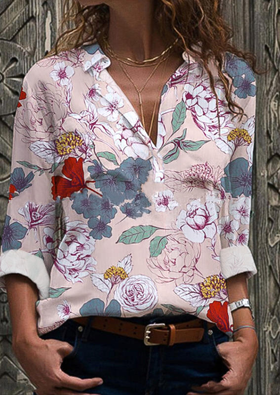 Floral Long Sleeve V-Neck Blouse - Pink