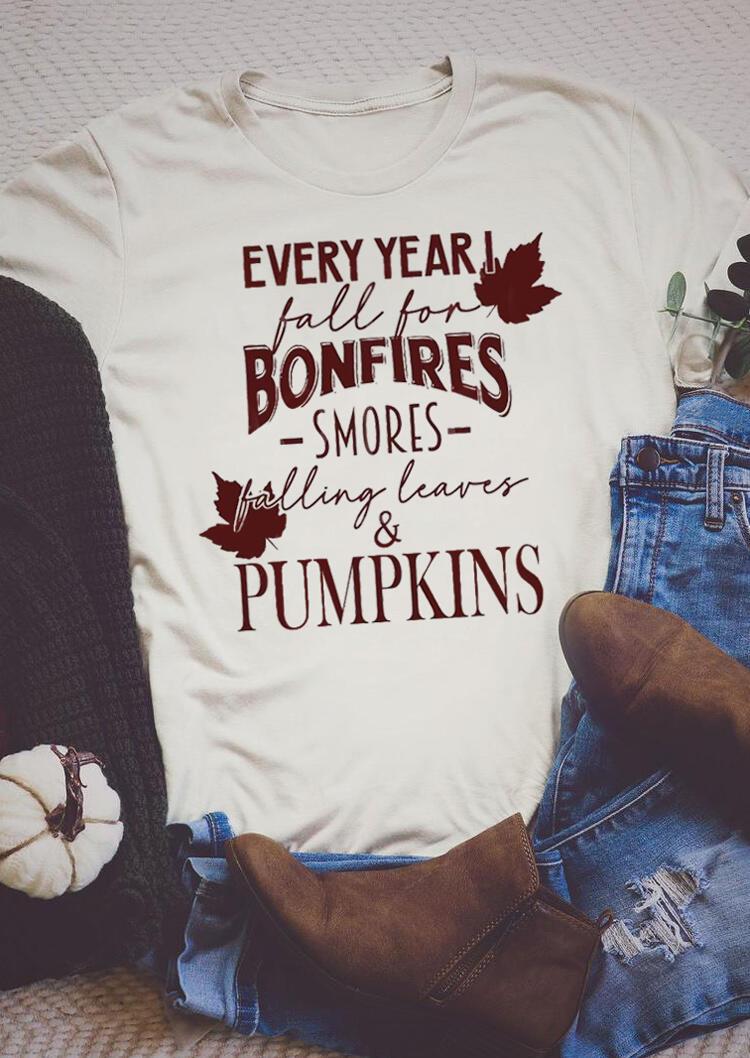 Fairyseason coupon: Falling Leaves & Pumpkins Graphic T-Shirt Tee - Beige
