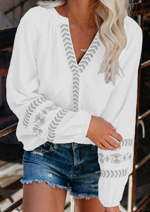 Geometric Raglan Sleeve V-Neck Blouse - White
