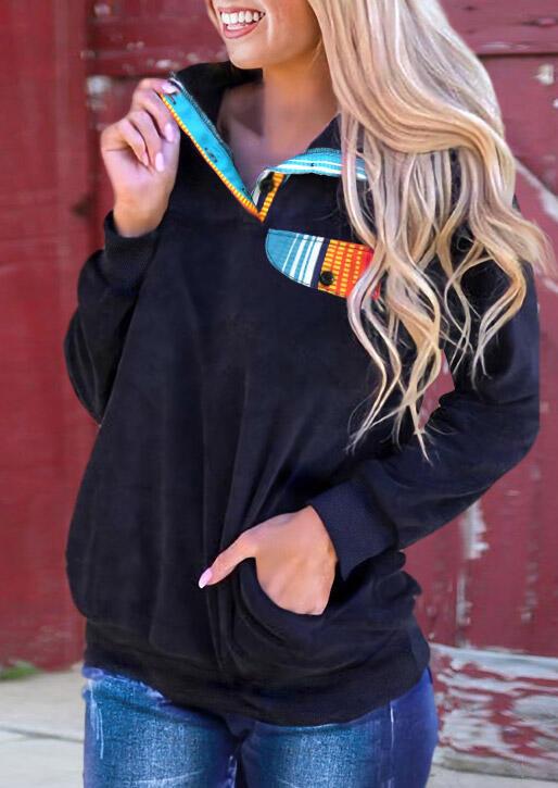 Serape Pocket Button Pullover Sweatshirt - Navy Blue