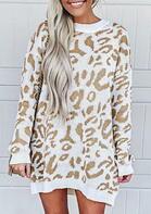 Leopard Splicing Knitted Long Sleeve Sweater Mini Dress