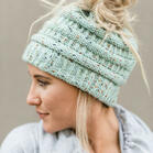 Warm Soft Lined Knitted Ponytail Beanie Hat