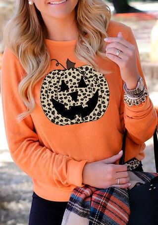 Halloween Leopard Pumpkin Face Sweatshirt - Orange