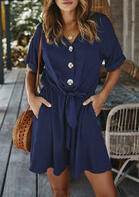 Button V-Neck Pocket Tie Loose Romper