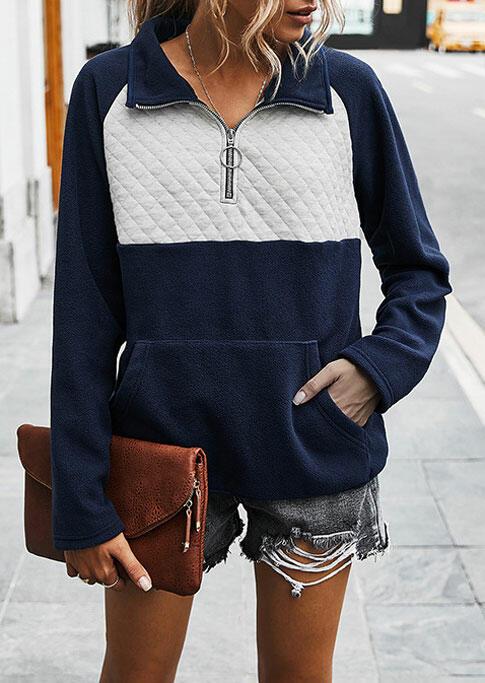 Zipper Collar Splicing Kangaroo Pocket Pullover Sweatshirt - Navy Blue