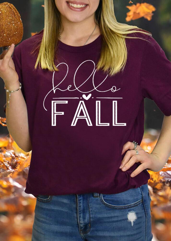 Hello Fall Heart O-Neck T-Shirt Tee - Plum
