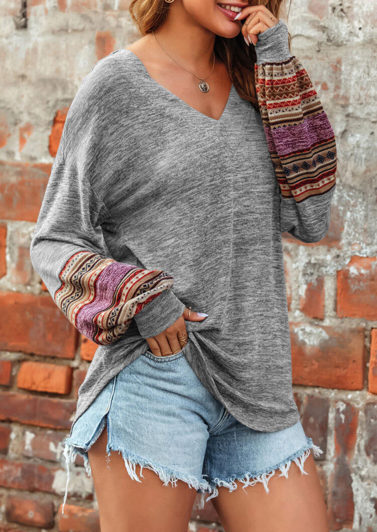 Geometric Ethnic Splicing Elastic Cuff V-Neck Blouse - Gray