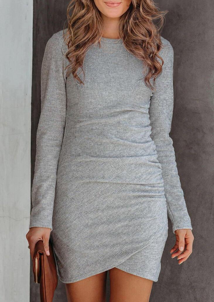 Ruched Asymmetric Long Sleeve Bodycon Dress - Gray
