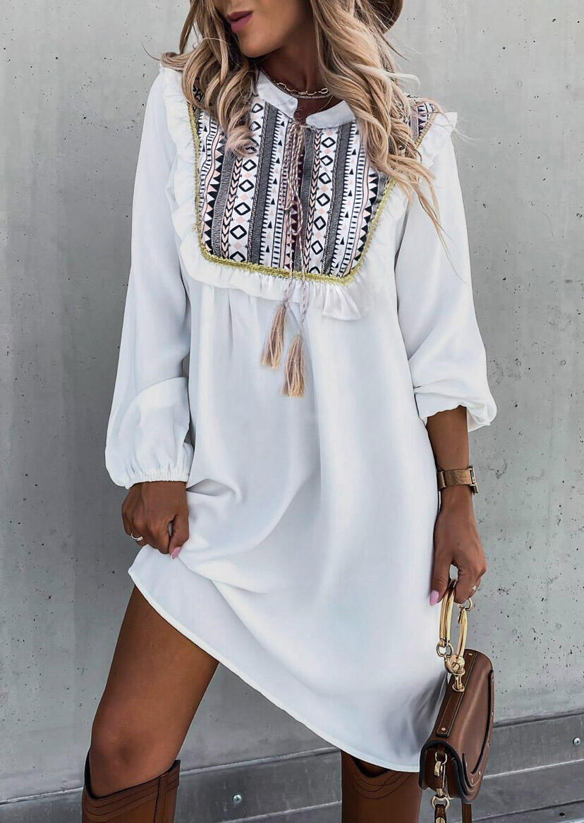 Aztec Geometric Ruffled Tassel Drawstring Casual Dress - White