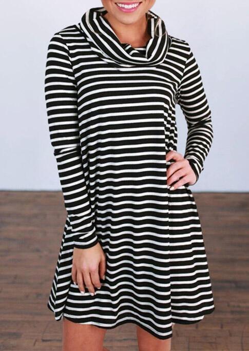 FairySeason / Striped Splicing Cowl Neck Loose Mini Dress