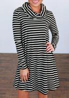 Striped Splicing Cowl Neck Loose Mini Dress
