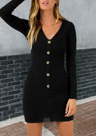 Button Down V-Neck Knitted Mini Dress
