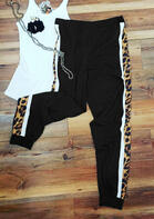 Leopard Splicing Elastic Waist Pants without Tank
