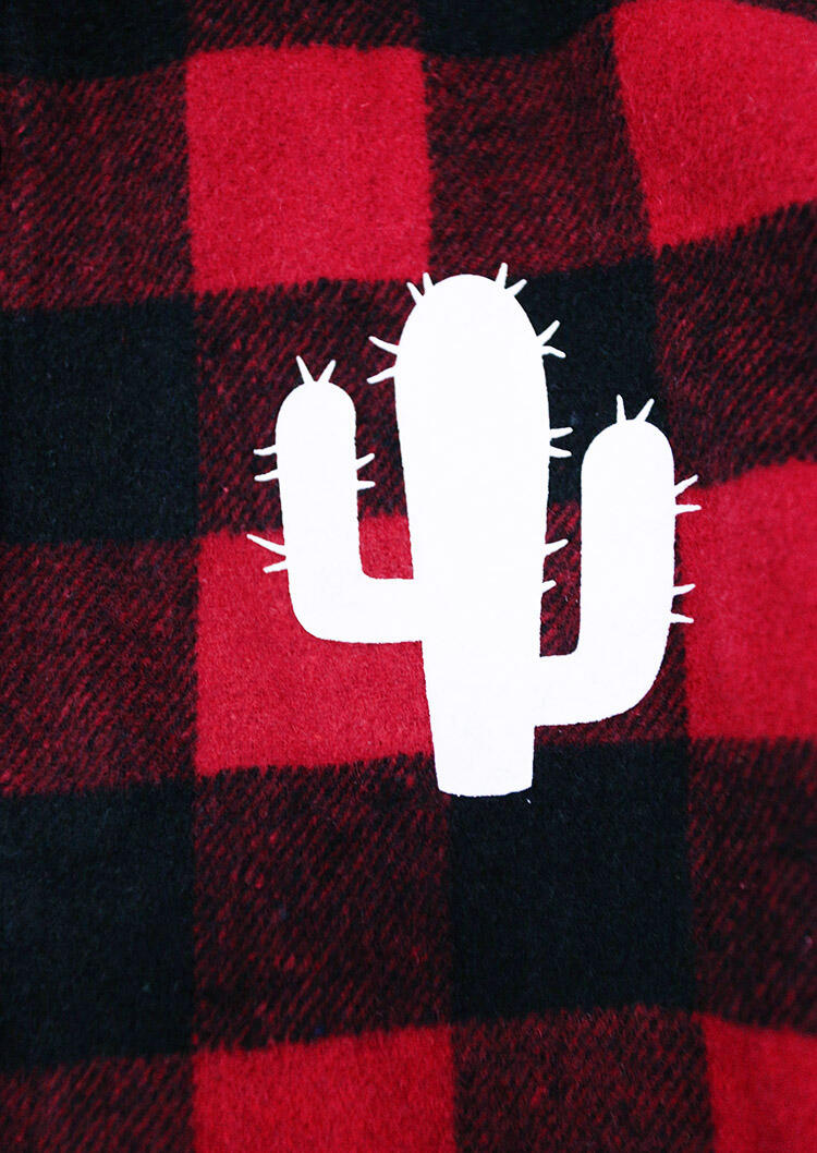 Buffalo Plaid Cactus Long Sleeve Jacket Coat
