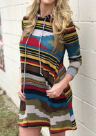 Colorful Striped Pocket Drawstring Hooded Mini Dress