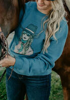 Western Cowgirl Long Sleeve Pullover Sweatshirt