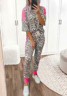 Leopard Color Block Blouse And Drawstring Pants Two-Piece Set