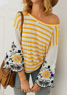 Striped Floral Splicing Flare Sleeve Blouse