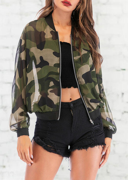 Camouflage Zipper Long Sleeve Casual Coat