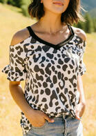 Leopard V-Neck Cold Shoulder Blouse