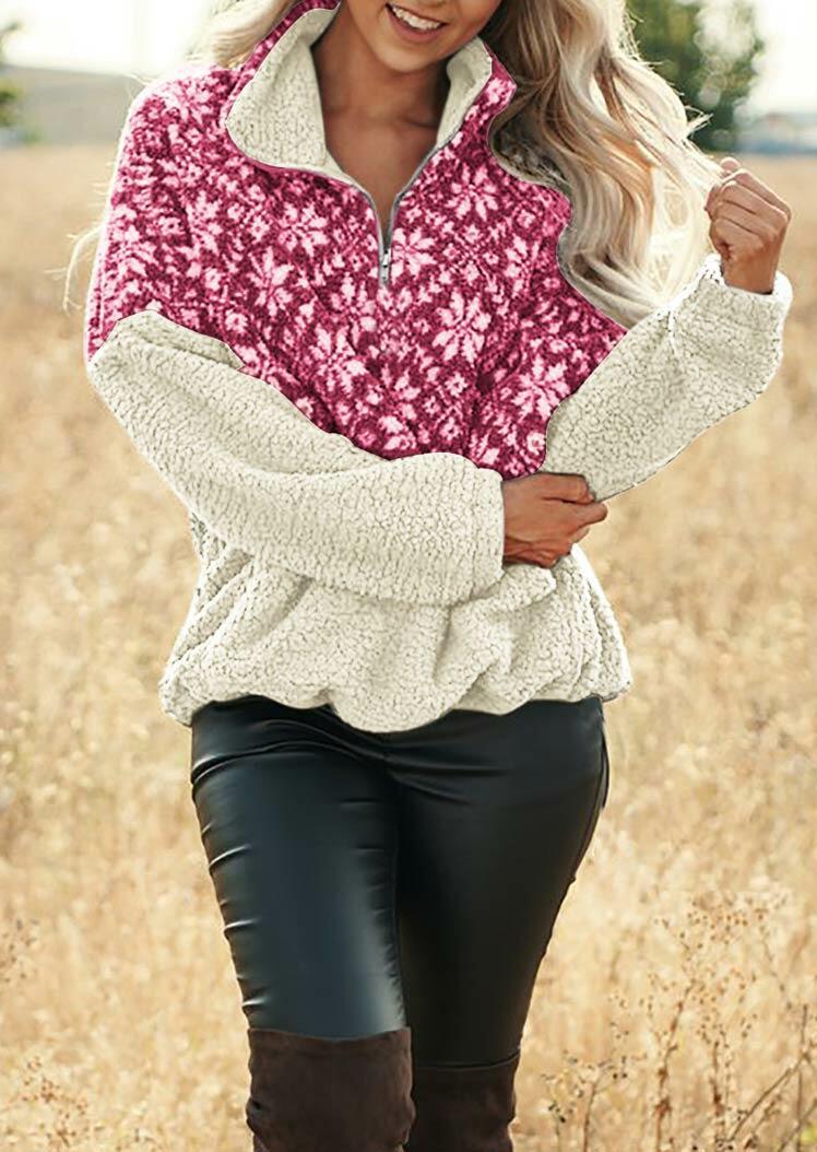 Christmas Snowflake Splicing Zipper Collar Fleece Sweatshirt - Rose Red