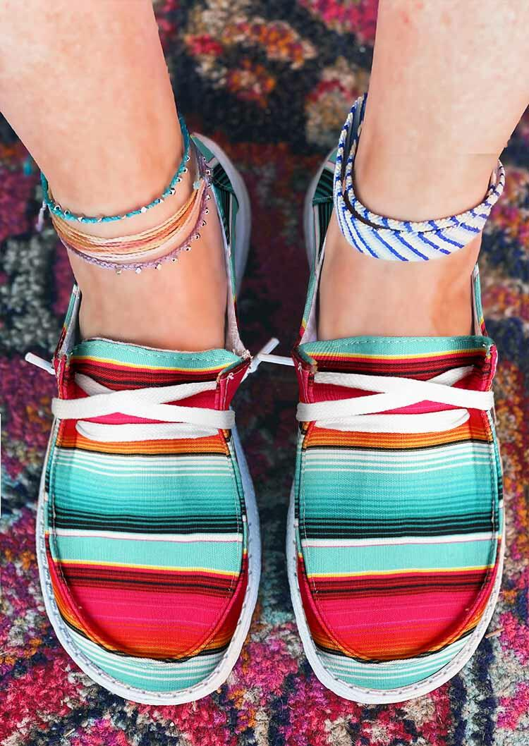 Serape Striped Lace Up Flat Canvas Sneakers фото
