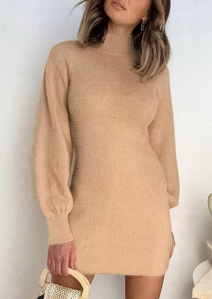 Lantern Sleeve Turtleneck Knitted Sweater Mini Dress - Light Brown