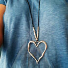 Vintage Hollow Out Heart Pendant Sweater Chain Necklace
