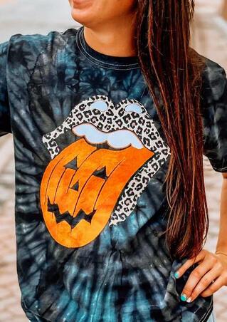 Halloween Pumpkin Face Leopard Rolling Stone Lips Tie Dye Blouse