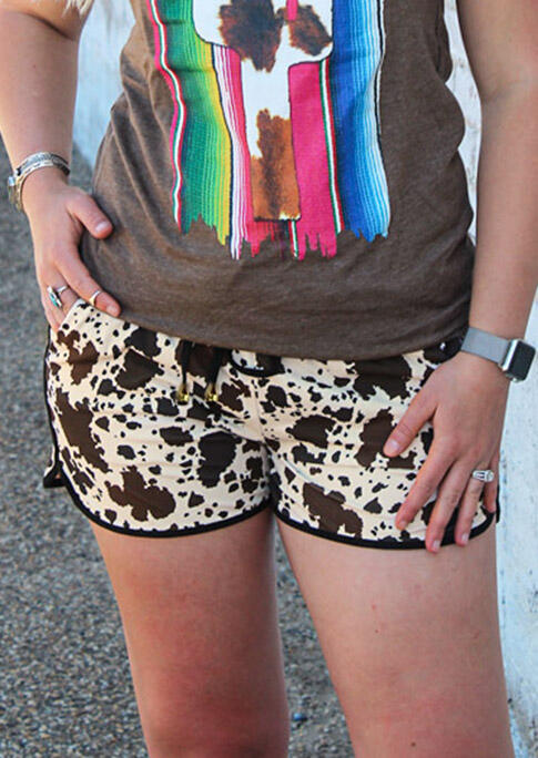Cow Leopard Pocket Drawstring Shorts - Apricot