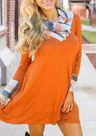 Plaid Splicing Button Long Sleeve Mini Dress