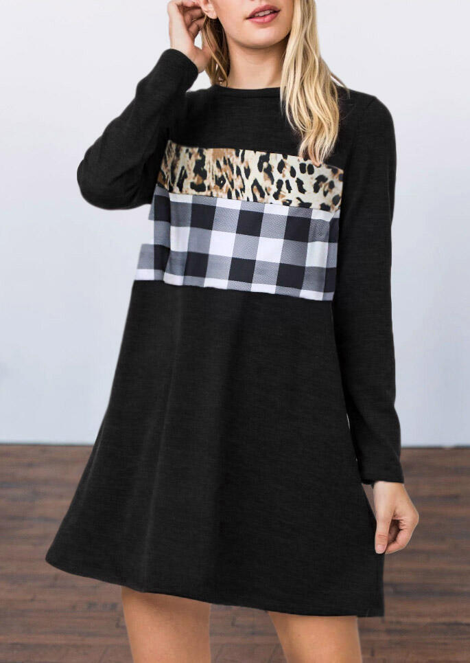 Leopard Plaid Splicing Loose Mini Dress - Black
