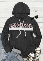Leopard Splicing Drawstring Pullover Hoodie