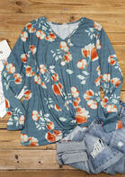 Floral Twist V-Neck Long Sleeve Blouse