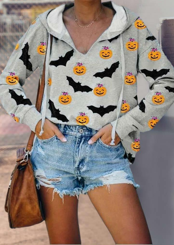 Fairyseason coupon: Halloween Pumpkin Face Bat Drawstring Hoodie - Gray