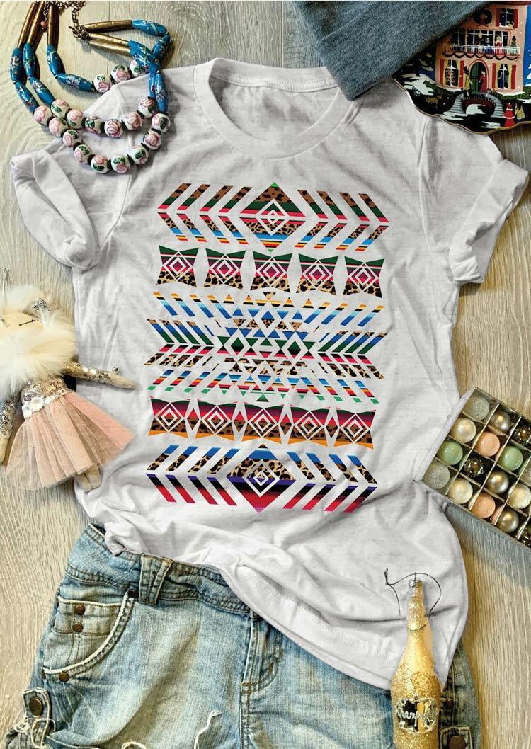 Aztec Geometric Serape Striped Leopard T-Shirt Tee - Light Grey