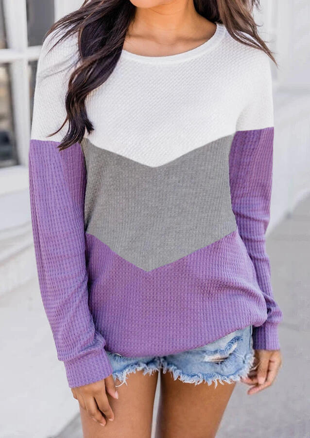 Color Block Long Sleeve Knitted Sweater - Purple