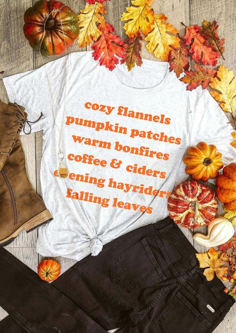 Fall Pumpkin Letter O-Neck T-Shirt Tee - Light Grey