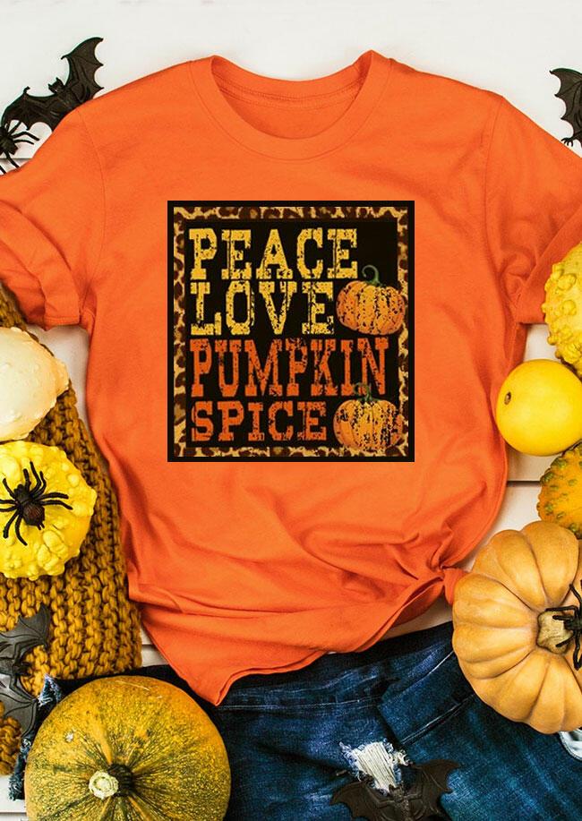 Fairyseason coupon: Peace Love Pumpkin Spice Leopard Splicing T-Shirt Tee - Orange