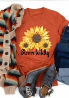 Bloom Wildly Leopard Sunflower O-Neck T-Shirt