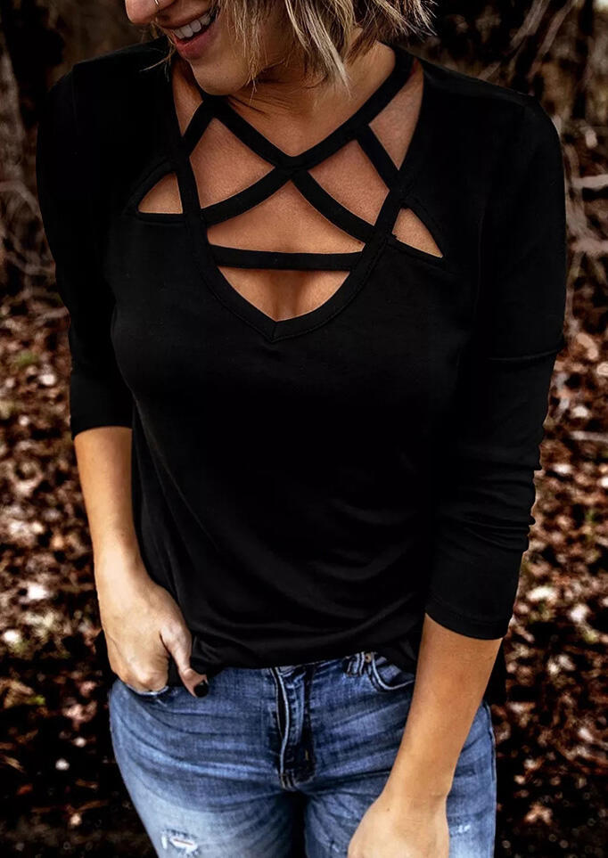 Hollow Out Long Sleeve Blouse - Black