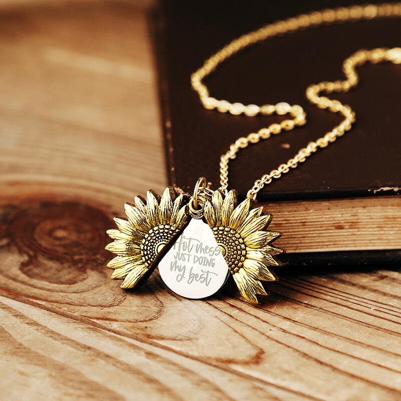 Hot Mess Just Doing My Best Sunflower Locket Pendant Necklace