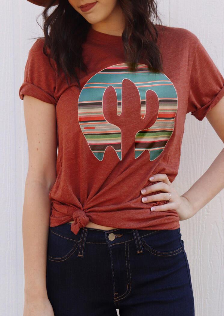 Cactus Serape Striped T-Shirt Tee - Brick Red